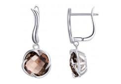 Серебряные cерьги висячие с кварцем