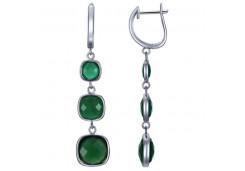 Серебряные cерьги висячие с агатом зеленым