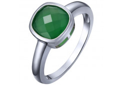 Серебряное кольцо с агатом зеленым