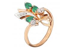 Серебряное кольцо с позолотой с агатом зеленым