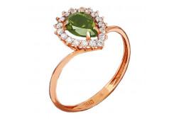 Серебряное кольцо с позолотой с хризолитом