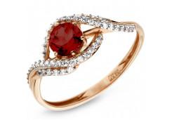 Серебряное кольцо с позолотой с гранатом