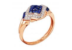 Серебряное кольцо с позолотой с сапфиром