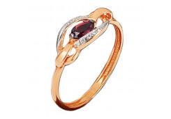 Серебряное кольцо с позолотой с корундом