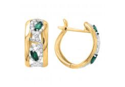 Серебряные cерьги классические с позолотой с агатом зеленым