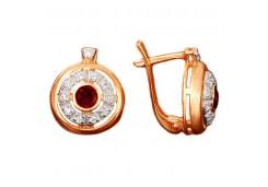 Серебряные cерьги классические с позолотой с гранатом