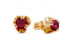 Серебряные cерьги пусеты (гвоздики) с позолотой с рубином
