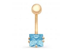 Серьга для пирсинга из золота с фианитом