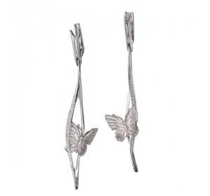 Серебряные cерьги висячие с кристаллом Сваровски