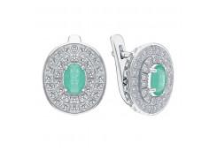 Серебряные cерьги классические с драгоценными камнями
