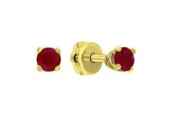 Серьги пусеты (гвоздики) из желтого золота с рубином